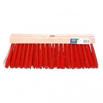 Stadsbezem met harde kunstvezels rood 35 cm - 3097