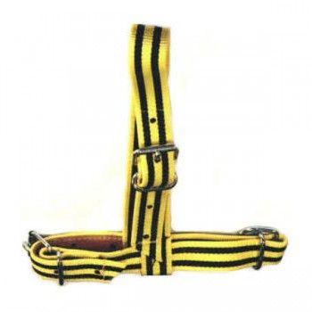 Keuringshalster Koe geel / zwart versterkt met leder - 5575