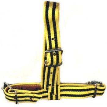 Keuringshalster Pink geel / zwart versterkt met leder - 5576